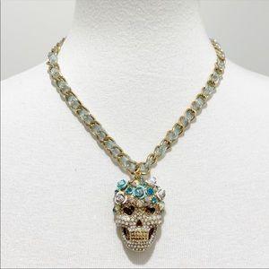 Betsey Johnson skull flower top heat necklace NWT